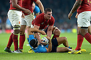Louis Picamoles of France gets the ball off Edoardo Gori of Italy (on ground) . Rugby World Cup 2015 pool D match, France v Italy at Twickenham Stadium in London on Saturday 19th September 2015.<br /> pic by John Patrick Fletcher, Andrew Orchard sports photography.