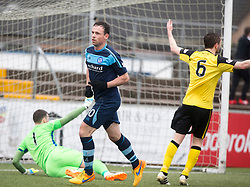 Forfar Athletic's James Lister cele scoring their goal. first half : Forfar Athletic 1 v 0 Edinburgh City, Scottish Football League Division Two played 11/3/2017 at Station Park.