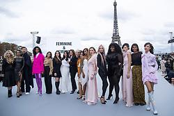 Katherine Langford, Camila Cabello, Aishwarya Rai, Helen Mirren, Aja Naomi King, Amber Heard, Soo Joo Park, Yseult, Nidhi Sunil, Leïla Bekhti, Liya Kebede, Cindy Bruna, Luma Grothe posing on the runway after the L'Oreal show as part of Paris Fashion Week Womenswear Spring/Summer 2022 in Paris, France on October 03, 2021. Photo by Aurore Marechal/ABACAPRESS.COM