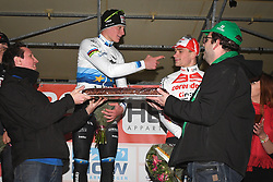 January 5, 2019 - Gullegem, BELGIUM - Dutch Mathieu Van Der Poel celebrates on the podium, with a large cake with creme fraiche, after winning the men elite race of the Gullegem Cyclocross, Saturday 05 January 2019 in Gullegem, Belgium. BELGA PHOTO DAVID STOCKMAN (Credit Image: © David Stockman/Belga via ZUMA Press)