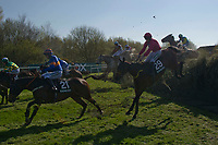 Grand National Meeting - Ladies' Day<br /> e.g. of caption:<br /> National Hunt Horse Racing - 2017 Randox Grand National Festival - Friday, Day Two [Ladies' Day]<br /> <br />   <br /> as they jump Beecher's Brook  in the 5th race 16.05  Randox Health Topham Handicap Chase (Grade 3) (National Course) (Class 1)<br /> 2m 5f 19y, Good (Good to Soft in places)<br /> 29 Runners.at Aintree Racecourse.<br /> <br /> COLORSPORT/WINSTON BYNORTH
