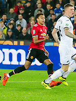 Football - 2017 / 2017 EFL (League) Cup - Fourth Round: Swansea City vs. Manchester United<br /> <br /> Jesse Lingard of Manchester United celebrates scoring his team's first goal, at The Liberty Stadium.<br /> <br /> COLORSPORT/WINSTON BYNORTH