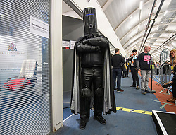 © Licensed to London News Pictures. 13/12/2019. London, UK. LORD BUCKETHEAD arrives at the Hillingdon General Election count for the constituency of Uxbridge and South Ruislip. A general election was called for December 12th following a deadlock in Parliament over the UK's decision to leave the EU. Photo credit: Ben Cawthra/LNP