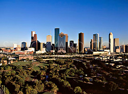 Aerial view of the Houston, Texas skyline from the west.