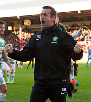 09/11/14 SCOTTISH PREMIERSHIP <br /> ABERDEEN v CELTIC <br /> PITTODRIE - ABERDEEN<br /> Celtic manager Ronny Deila celebrates with the away support at the full time whistle