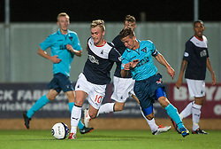 Falkirk's Craig Sibbald and Dunfermline's Josh Falkingham.<br /> Falkirk 2 v 1 Dunfermline, Scottish League Cup, 27/8/2013, at The Falkirk Stadium.<br /> ©Michael Schofield.