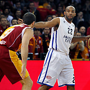 Anadolu Efes's Alfred Jamon Lucas (R) during their BEKO Basketball League match Galatasaray between Anadolu Efes at the Abdi Ipekci Arena in Istanbul at Turkey on Sunday, February 17, 2013. Photo by Aykut AKICI/TURKPIX