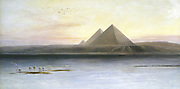 The Pyramids at Gizeh. Edward Lear (1812-1888) British painter and humourist.Oil on canvas. Private collection.