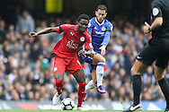 Daniel Amartey of Leicester city and Eden Hazard of Chelsea in action. Premier league match, Chelsea v Leicester city at Stamford Bridge in London on Saturday 15th October 2016.<br /> pic by John Patrick Fletcher, Andrew Orchard sports photography.