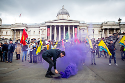 © Licensed to London News Pictures. 01/05/2017. London, UK. Demonstrators protest against austerity, cuts and anti-trade union laws at the May Day demonstration, an annual working-class demonstration taking place on the 1 May. The demonstration starts at Clerkenwell Green and moves on to Trafalgar Square. Photo credit : Tom Nicholson/LNP