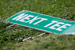 """Sign """"Next tee"""" during golf competition in final day of International European Ladies Amateur Championship 2012, on July 28, 2012 in Smlednik at Ljubljana, Slovenia. (Photo by Matic Klansek Velej / Sportida.com)"""
