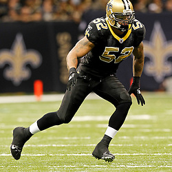 December 4, 2011; New Orleans, LA, USA; New Orleans Saints linebacker Jonathan Casillas (52) against the Detroit Lions during a game at the Mercedes-Benz Superdome. The Saints defeated the Lions 31-17. Mandatory Credit: Derick E. Hingle-US PRESSWIRE