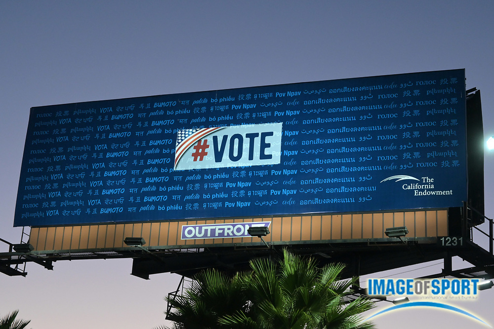 A #vote public service announcement billboard sponsored by the California Endowment, Friday, Sept. 25, 2020, in Commerce, Calif.