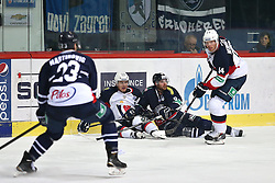 04.01.2015, Dom Sportova, Zagreb, CRO, KHL League, KHL Medvescak vs Slovan Bratislava, 43. Runde, im Bild Bill Thomas, Andrej Stasny, Nedorost Vaclav. // during the Kontinental Hockey League 43th round match between KHL Medvescak and Slovan Bratislava at the Dom Sportova in Zagreb, Croatia on 2015/01/04. EXPA Pictures © 2015, PhotoCredit: EXPA/ Pixsell/ Davor Puklavec<br /> <br /> *****ATTENTION - for AUT, SLO, SUI, SWE, ITA, FRA only*****