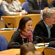 NLD/Den Haag/20070412 - Visit of Mr. Hans-Gert Pöttering, president of the European parliament to The Hague, visiting the second chamber of the Dutch parliament, chamber member Mariko Peeters.  ** foto + verplichte naamsvermelding Brunopress/Edwin Janssen  **