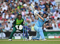 Cricket - 2019 ICC Cricket World Cup - Group Stage: England vs. South Africa<br /> <br /> England's Eoin Morgan hits a six off the bowling of South Africa's Aiden Markram, at The Kia Oval.<br /> <br /> COLORSPORT/ASHLEY WESTERN