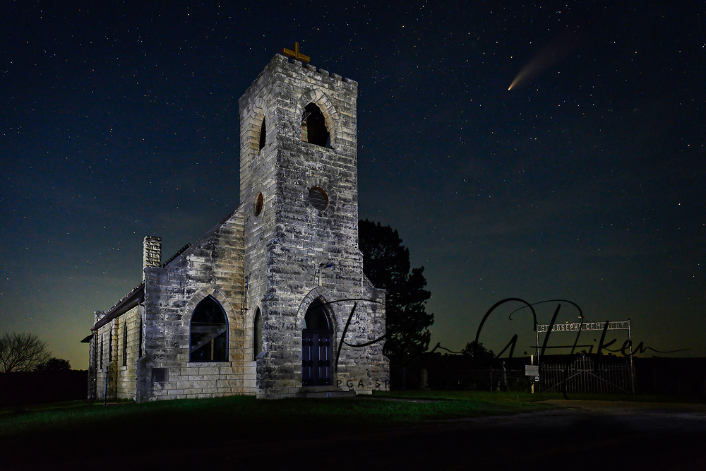 The Neowise Comet crosses the Kansas sky, over the Flint Hills and 110 year old St. Josephs Church.