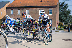 Lotta Lepistö finds space to move up on the outside through the corner - 2016 Omloop van het Hageland - Tielt-Winge, a 129km road race starting and finishing in Tielt-Winge, on February 28, 2016 in Vlaams-Brabant, Belgium.