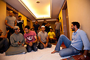 Pakistan National Cricket captain Shahid Afridi together with fellow team mates of the Pakistan 2011 World Cup cricket squad relax shortly before they are to pray on the elevator landing of the Hilton hotel shortly before heading to Premadasa stadium to play against Australia, Colombo, Sri Lanka.