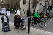 As Prime Minister Theresa May petitions European leaders in Brussels, this time to persuade the European Council to accept a delay of the UK's Brexit Article 50, disabled pro-Europeans protest outside parliament in Westminster, on 21st March 2019, in London, England.