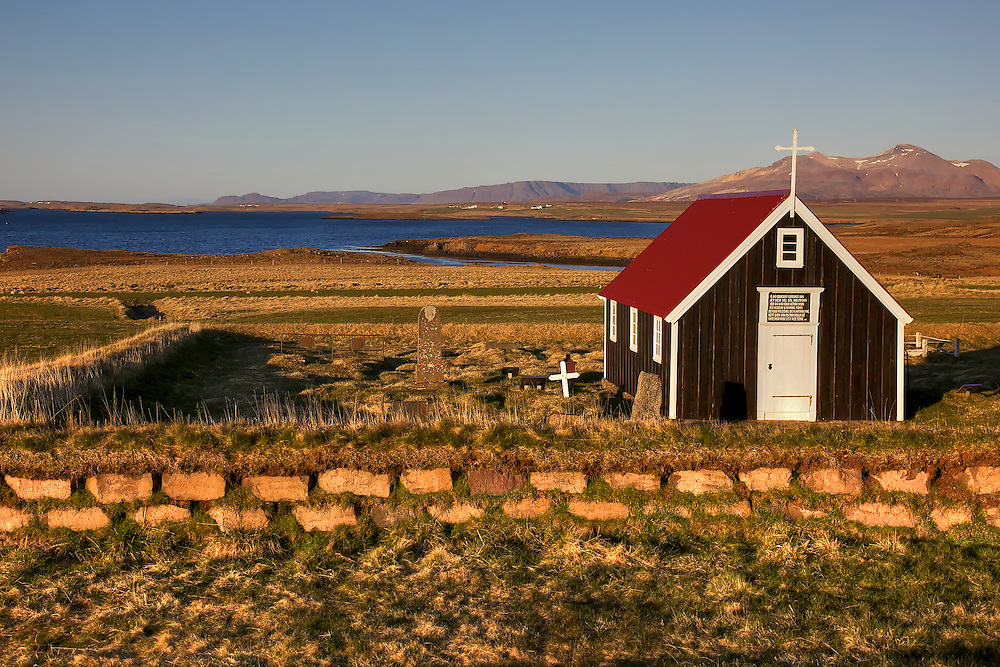 Chapel by the sea, Bjarnarhofn, on the Snaefellsnes Peninsula, Iceland.