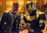 """It's a Bird! It's a Plane! It's...Phoenix Jones?!<br /> They are ordinary men in extraordinary costumes, and they have risen from the ashes of our troubled republic to ensure the safety of their fellow citizens. Jon Ronson goes on patrol with Urban Avenger, Mr. Xtreme, Pitch Black, Knight Owl, Ghost, and the baddest-ass """"real-life superhero"""" of them all, Phoenix Jones<br /> <br /> Five nights a week, Phoenix dresses in a superhero outfit of his own invention and chases car thieves and breaks up bar fights and changes the tires of stranded strangers.<br /> <br /> Phoenix didn't know this when he first donned the suit about a year ago, but he's one of around 200 real-life superheroes currently patrolling America's streets, looking for wrongs to right. There's DC's Guardian, in Washington, who wears a full-body stars-and-stripes outfit and wanders the troubled areas behind the Capitol building. There's RazorHawk, from Minneapolis, who was a pro wrestler for fifteen years before joining the RLSH movement. There's New York City's Dark Guardian, who specializes in chasing pot dealers out of Washington Square Park by creeping up to them, shining a light in their eyes, and yelling, """"This is a drug-free park!"""" And there are dozens and dozens more. Few, if any, are as daring as Phoenix. Most undertake basically safe community work: helping the homeless, telling kids to stay off drugs, etc. They're regular men with jobs and families and responsibilities who somehow have enough energy at the end of the day to journey into America's neediest neighborhoods to do what they can.<br /> <br /> But what does being an urban crime-fighter involve and why do the 'real-life superheroes' feel a need to put their lives at risk?<br /> """"We are basically a citizen eye witness group. If we see a crime, we run to the victim, see if they want to press charges, at that point we'll go after the bad guy, catch him, and either hold them in position or dial 911 and wait until the cops arrive,"""" Seattle"""