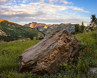 Boulders fill the landscape in Utah's Little Cottonwood Canyon creating an even more dramatic landscape on a cool Summer morning.