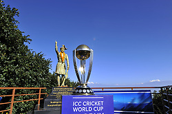 October 28, 2018 - Kathmandu, NP, Nepal - The 2019 ICC Cricket World Cup trophy pictured infront the statue of first monarch of Kingdom of Nepal Prithvi Narayan Shah in Chandragiri Hills during a country tour in Kathmandu, Nepal on Sunday, October 28, 2018. The 2019 Cricket World Cup is to be hosted by England and Wales from 30 May to 14 July 2019. (Credit Image: © Narayan Maharjan/NurPhoto via ZUMA Press)