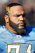 San Diego Chargers nose tackle Antonio Garay (71) sports a sculpted beard in the shape of a face mask and a lightning bolt haircut during the NFL week 12 football game against the Denver Broncos on Sunday, November 27, 2011 in San Diego, California. The Broncos won the game in overtime 16-13. ©Paul Anthony Spinelli