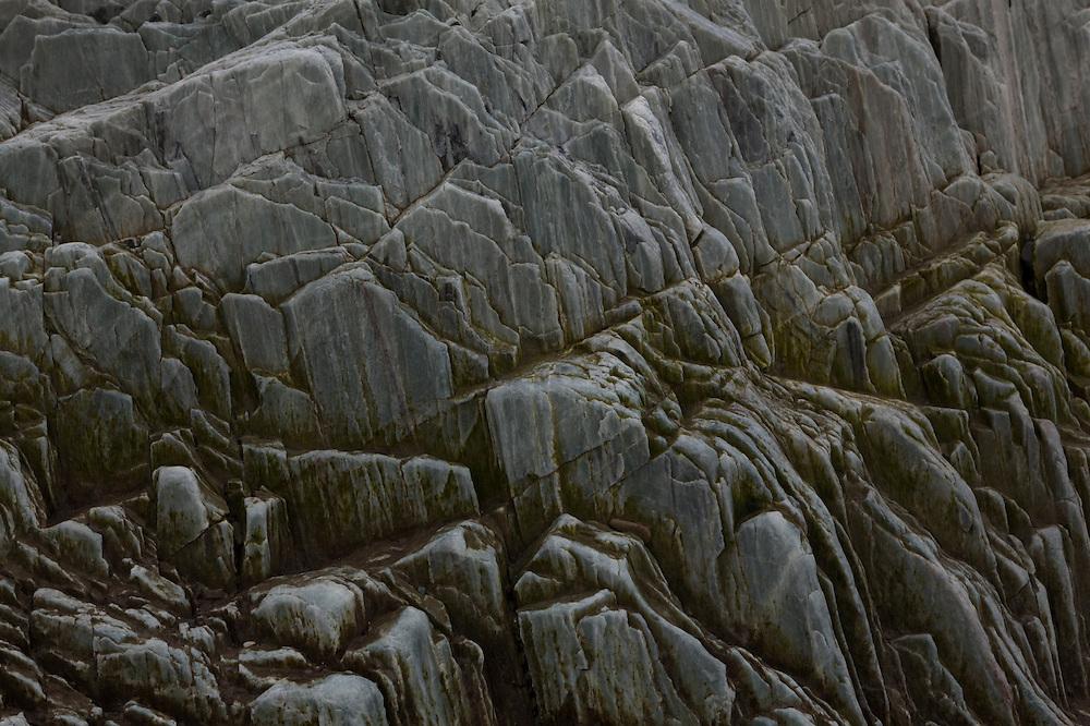 Fractured rock on the coast in Hornsund, Svalbard.