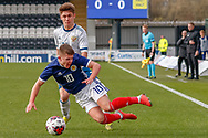 Scotland's Kai Kennedy (Rangers FC) gets brought down during the U17 European Championships match between Scotland and Russia at Simple Digital Arena, Paisley, Scotland on 23 March 2019.
