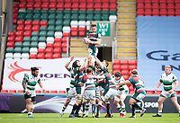 Rugby Union - 2020 / 2021 ER Challenge Cup - Quarter-Final - Leicester Tigers  vs Newcastle Falcons - Welford Road<br /> <br /> Hanro Liebenberg of Leicester Tigers claims the ball in a line-out<br /> <br /> Credit : COLORSPORT/BRUCE WHITE