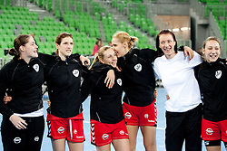 Neja Soberl, Kristina Franic, Kristina Bille, Gorica Acimovic, Ibolya Weiszne Mehlmann and Iris Guberinic of Krim celebrate after the handball match between RK Krim Mercator and Larvik HK (NOR) of Women's EHF Champions League 2011/2012, on November 13, 2011 in Arena Stozice, Ljubljana, Slovenia. Larvik defeated Krim 22-19 but both teams qualified to new round. (Photo By Vid Ponikvar / Sportida.com)