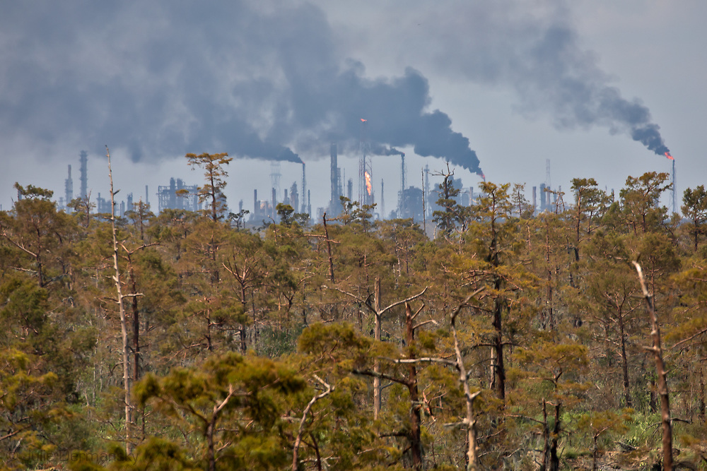 view of Norco where there are numerous plants and refineries.