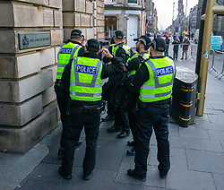 Police before Alex Salmond arrived at the High Court in relation to sexual offence charges.