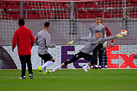 PIRAEUS, GREECE - FEBRUARY 25: Players of SL Benfica warm up prior to the UEFA Europa League Round of 32 match between Arsenal FC and SL Benfica at Karaiskakis Stadium on February 25, 2021 in Piraeus, Greece. (Photo by MB Media)