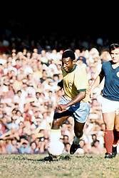 Brazil's Pele in action during his last international match