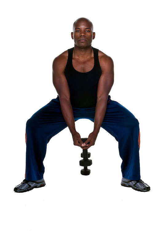 African American doing exercises with lifts isolated.