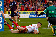 Hull Kingston Rovers prop Robbie Mulhern (21) scores a try  during the Betfred Super League match between Hull Kingston Rovers and Leeds Rhinos at the Lightstream Stadium, Hull, United Kingdom on 29 April 2018. Picture by Simon Davies.
