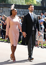 Serena Williams and Alexis Ohanian arrive at St George's Chapel at Windsor Castle for the wedding of Meghan Markle and Prince Harry.