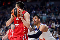 Real Madrid's Gustavo Ayon and Crvena Zvezda Mts Belgrade's Milko Bjelica during Turkish Airlines Euroleague match between Real Madrid and Crvena Zvezda Mts Belgrade at Wizink Center in Madrid, Spain. March 10, 2017. (ALTERPHOTOS/BorjaB.Hojas)