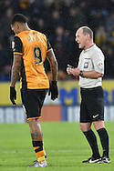 Hull City striker Abel Hernandez (9) receives yellow card after runing into the croed to celebrate his goalduring the Sky Bet Championship match between Hull City and Cardiff City at the KC Stadium, Kingston upon Hull, England on 13 January 2016. Photo by Ian Lyall.