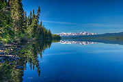 Coast Mountains reflected in Kinaskan Lake <br /> along the Stewart Cassiar Highway<br /> British Columbia<br /> Canada