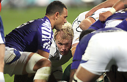 © Andrew Fosker / Seconds Left Images 2011 - man of the match South Africa's Schalk Burger prepares to scrummage as Samoa's Kahn Fotuali'i puts on South Africa v Samoa - Rugby World Cup 2011 - North Harbour Stadium - Auckland - New Zealand - 30/09/2011 -  All rights reserved..