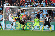 Fernandinho of Manchester city clears from Fernando Llorente of Swansea city. Premier league match, Swansea city v Manchester city at the Liberty Stadium in Swansea, South Wales on Saturday 24th September 2016.<br /> pic by Andrew Orchard, Andrew Orchard sports photography.