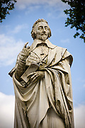 Stone statue monument of Cardinal Richelieu, former Prime Minister, in the town of Richelieu, France