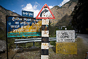 Road signs in the Kinnair valley, 19th October 2009, Himachal Pradesh, India.  The region of Spiti and Kinnaur is a remote and tribal area of the Indian Himalayas near the Tibetan border.