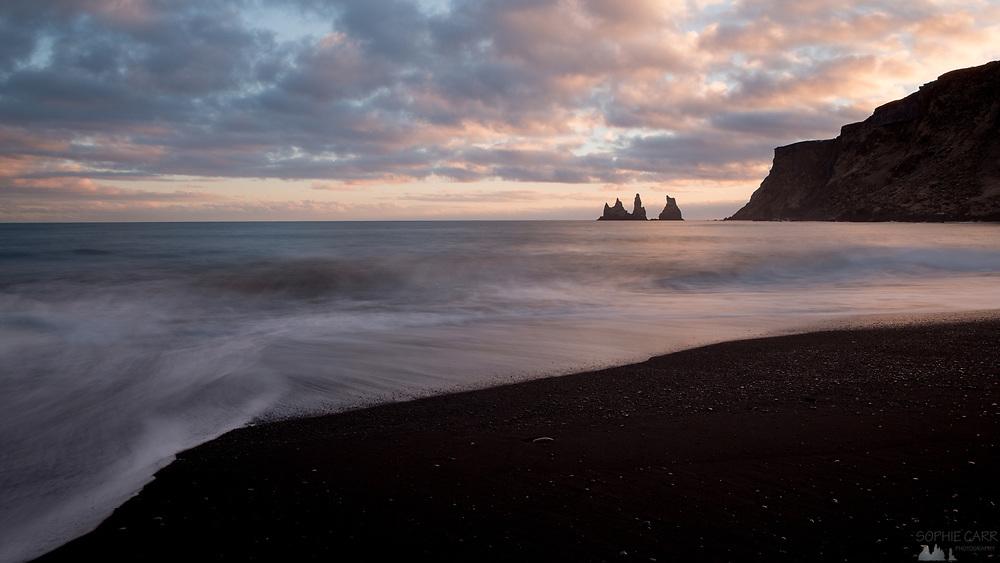 Reynisdrangar stacks seen from Vík beach, southern Iceland