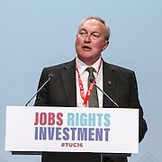 Paddy Lillis, fraternal delegate from the Labour party addressing TUC congress 2016, Brighton. UK.
