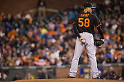 Baltimore Orioles relief pitcher Donnie Hart (58) stands at the mount waiting to deliver a pitch against the San Francisco Giants at AT&T Park in San Francisco, Calif., on August 12, 2016. (Stan Olszewski/Special to S.F. Examiner)